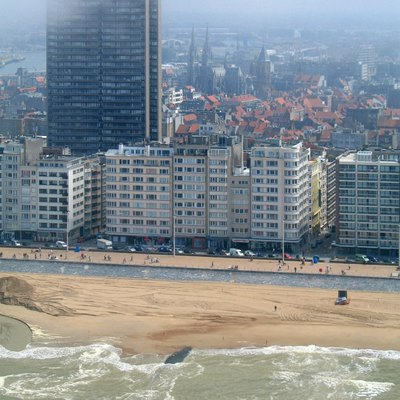Ostend (Province of West Flanders, Belgium): sea front and Europacentrum building