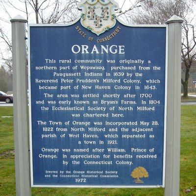 Historic marker for the Town of Orange, CT, USA