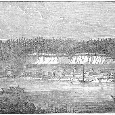 "Engraving ""from an original sketch"" of Oregon City, published in 1849"