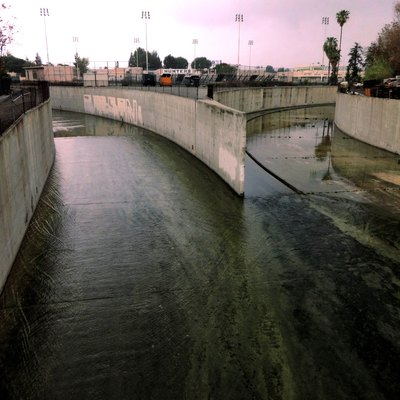 Los Angeles River origin at the confluence of Bell Creek and Arroyo Calabasas.