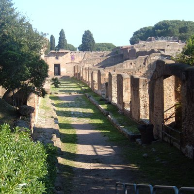 Ostia Antica, street with shops (Botteghe I,IV,1).