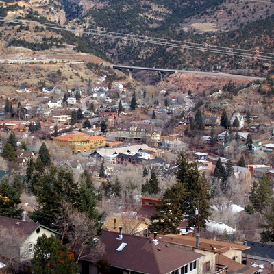 Manitou Springs, Colorado From A Mountain Trail Overlooking The City.
