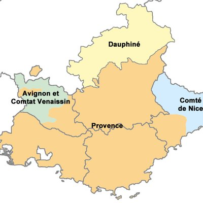 The historical province of Provence (orange) within the modern region of Provence-Alpes-Côte d'Azur in southeast France