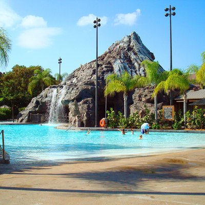 The Polynesian Resort's main themed pool, the Nanea Volcano Pool. Disney World, Florida.