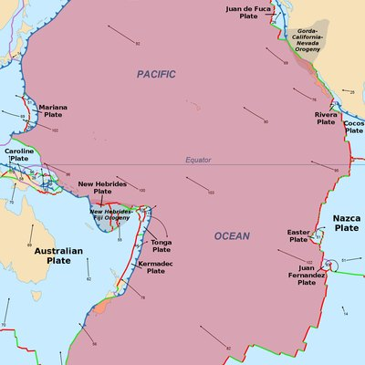 Map of the Pacific plate