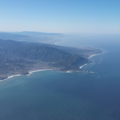 An aerial view of Pacifica. Pacifica State Beach is just left of center.