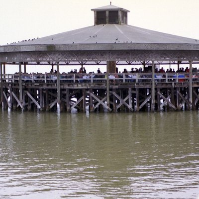 A wedding on Palacios' Pavilion on Matagorda Bay before a hurricane damaged it.