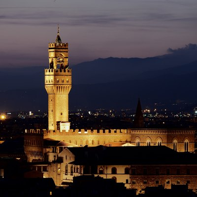 Palazzo Vecchio. Nigth view from Michelangelo hill, Florence, Italy.