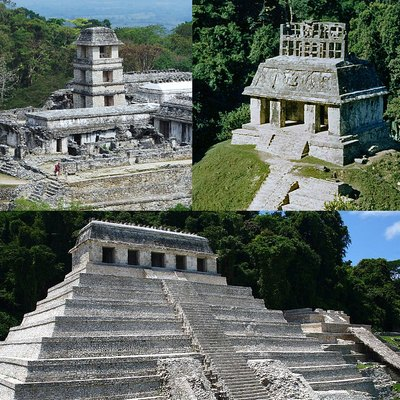 Collage of pictures taken from wikimedia commons to describe palenque in a few pictures
