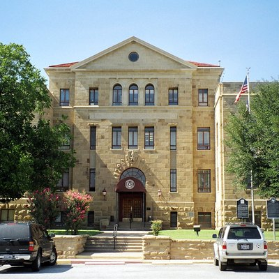 The Palo Pinto County, Texas Courthouse located in, Palo Pinto, Texas, United States. The Moderne style structure was added to the National Register of Historic Places on April 17, 1997.