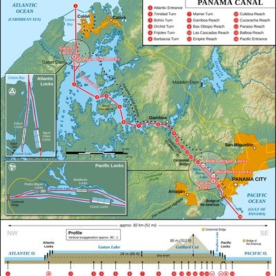 Map of the Panama Canal (English version)