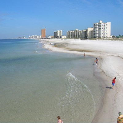 This is a clear west facing view of Panama City Beach in the state of Florida, USA. It was taken from the viewpoint of St. Andrews pier.