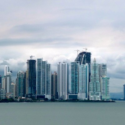 Skyline of Panama City, near Cinta Costera. photo taken in Casco Viejo.