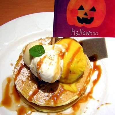A Halloween pancake at a Denny's in Tokyo