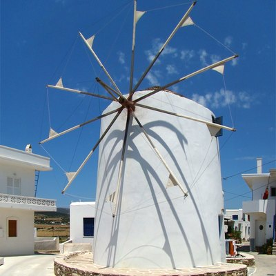 A windmill in Marpissa is of the traditional Cyclades design.