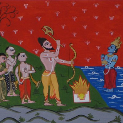 This painting showing Lord Parasurama, an avatar of Lord Vishnu asking Lord Varuna, God of the waters to recede to make land known as Kerala from Kanyakumari to Gokarna for the Brahmins. A number of myths and legends persist concerning the origin of Kerala. One such myth is the creation of Kerala by Parasurama, a warrior sage. The Brahminical myth proclaims that Parasurama, an avatar of Mahavishnu, threw his battle axe into the sea. As a result, the land of Kerala arose and was reclaimed from the waters.Parasurama was the incarnation of Maha Vishnu. He was the sixth of the ten avatars (incarnation) of Vishnu. The word Parasu means 'axe' in Sanskrit and therefore the name Parasurama means 'Ram with Axe'. The aim of his birth was to deliver the world from the arrogant oppression of the ruling caste, the Kshatriyas. He killed all the male Kshatriyas on earth and filled five lakes with their blood. After destroying the Kshatriya kings, he approached assembly of learned men to find a way of penitence for his sins. He was advised that, to save his soul from damnation, he must hand over the lands he had conquered to the Brahmins. He did as they advised and sat in meditation at Gokarna. There, Varuna -the God of the Oceans and Bhumidevi - Goddess of Earth blessed him. From Gokarna he reached Kanyakumari and threw his axe northward across the ocean. The place where the axe landed was Kerala. It was 160 katam (an old measure) of land lying between Gokarna and Kanyakumari. Puranas say that it was Parasuram who planted the 64 Brahmin families in Kerala, whom he brought down from the north in order to expiate his slaughter of the Kshatriyas. According to the puranas, Kerala is also known as Parasurama Kshetram, ie., 'The Land of Parasurama', as the land was reclaimed from sea by him.