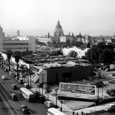 Skyline of Pasadena, in 1945. Posted to flickr by user army.arch here From the National Archives 111-SC box 692 329538