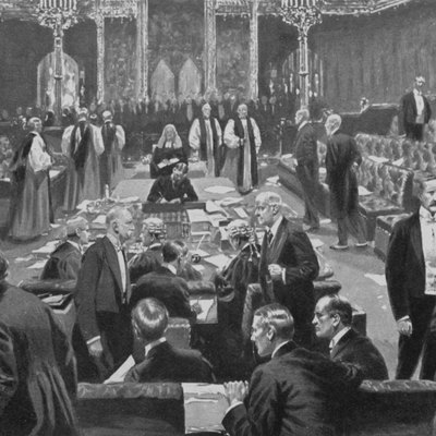 Passing of the Parliament Bill in the House of Lords, 1911.