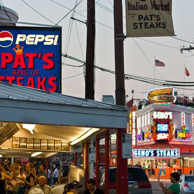 Pat's King of Steaks and Geno's Steaks in south Philly