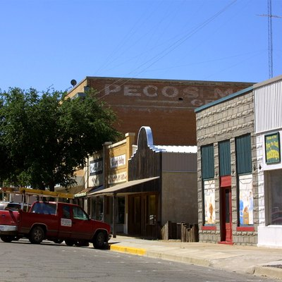 Storefronts in historic Pecos, Texas - taken by me in April 2004
