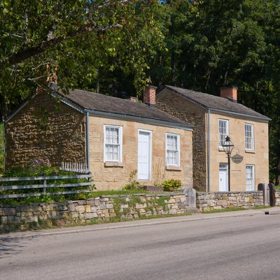 Pendarvis House (left) and Trelawny House (right) at the Pendarvis Historic Site, Mineral Point, Wisconsin