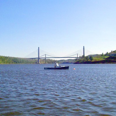 Penobscot Narrows Bridge, From The Bucksport Waterfront. Fort Knox Is To The Right.