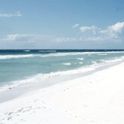 Pensacola Beach, 1957. Beach shows extremely white sand color.