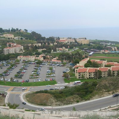 Looking down at lower campus of Pepperdine University in Malibu, California.