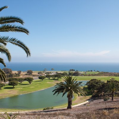 View from Pepperdine University to the Alumni Park and the coast