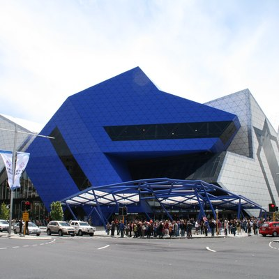 The exterior of Perth Arena.