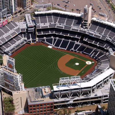 A photo of San Diego Padres Petco Park as taken from overhead in a helicopter.