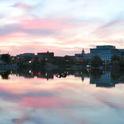 Downtown Peterborough at dusk from the Otonabee