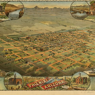An 1885 lithograph of a bird's-eye view of the city of Phoenix, Arizona, created by C. J. Dyer and published by Schmidt Label & Lithograph Company.