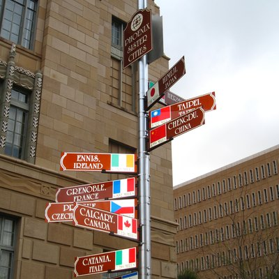 Sign showing the sister cities of Phoenix, AZ, USA.