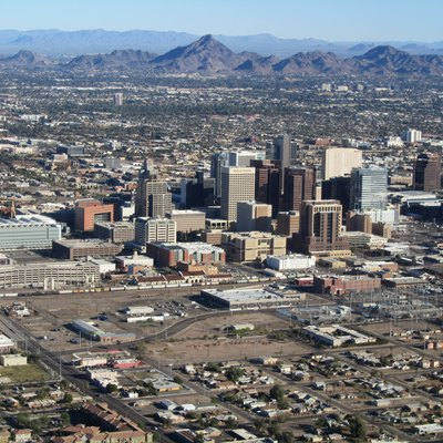 Downtown of Phoenix AZ from an airplane. The mountain in the center is Piestewa Peak.