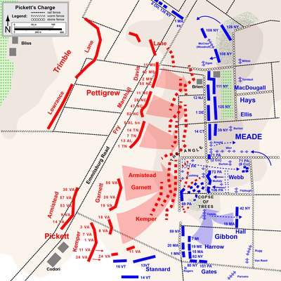 Pickett's Charge (detail) of the American Civil War. Drawn in Adobe Illustrator CS5 by Hal Jespersen. Graphic source file is available at http://www.posix.com/CWmaps/