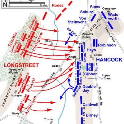 Map of Pickett's Charge of the American Civil War. Drawn in Adobe Illustrator CS5 by Hal Jespersen. Graphic source file is available at http://www.posix.com/CWmaps/