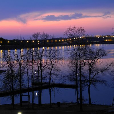 Evening view of the Pickwick Landing Dam on the Tennessee River from the inn at Pickwick Landing State Park.
