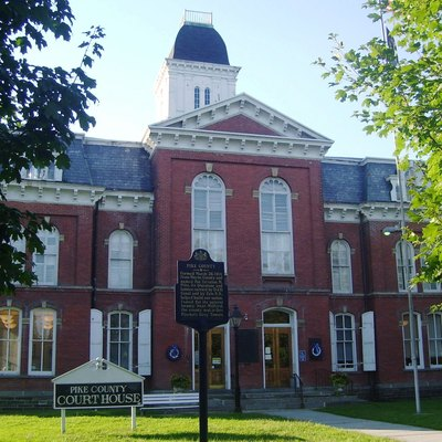 The Pike County Courthouse in Milford, Pennsylvania was completed in 1874 and was added to the National Register of Historic Places on July 23, 1979. It is located within the Milford Historic District. (Source: [1])