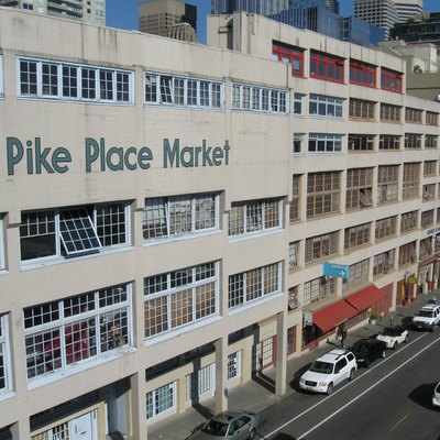 Pike Place Market from Western Avenue in Seattle