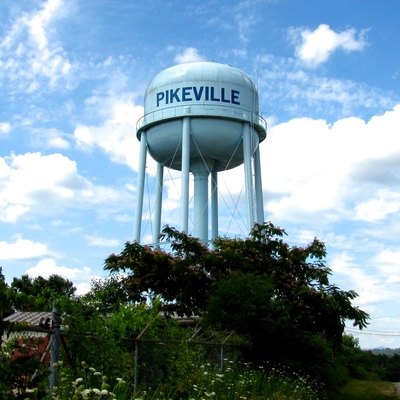 Water tower in Pikeville, Tennessee, United States.
