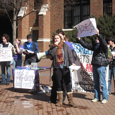 Members of Plan A Hoyas and H*yas for Choice protest in Red Square on the campus of Georgetown University.