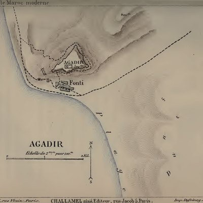 Map of Agadir (Morocco) in 1885