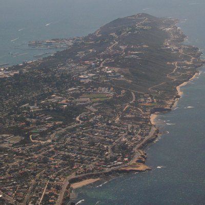 Oblique air photo of Point Loma, San Diego, California, facing south, March 2007.