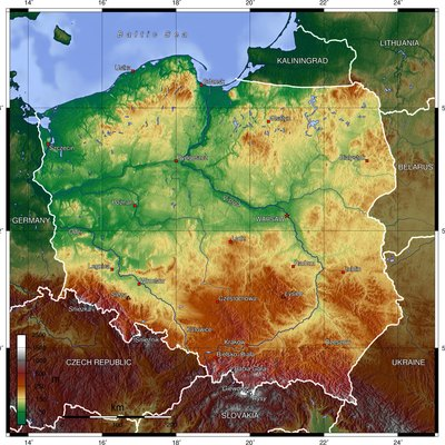 Topographic map of Poland