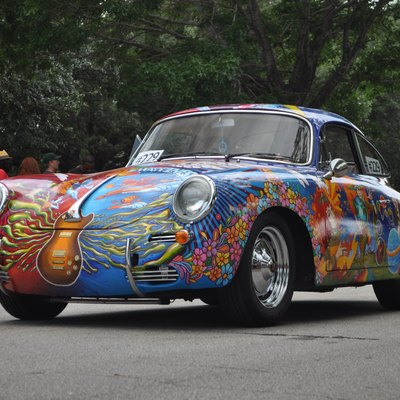 A Porsche 356 Art Car by Robynn Sanders at the 2011 Houston Art Car Parade