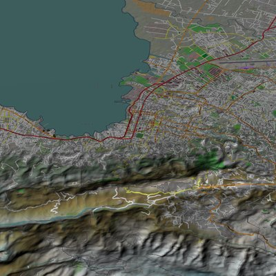 Port-au-Prince, Haiti, computer image generated using TruFlite