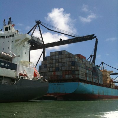 Container Ship At The Port Of Miami