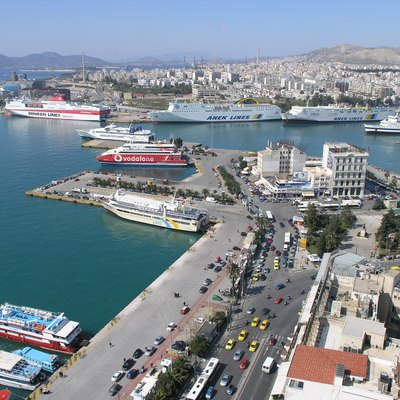 Panoramic view of the western part of the city and the port of Piraeus (periphery of Attica) in Greece. [In the picture is discernible the
