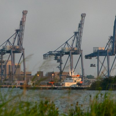 Port cranes, Galveston, Texas Photo taken by myself from the entrance to Seawolf Park on Pelican Island.